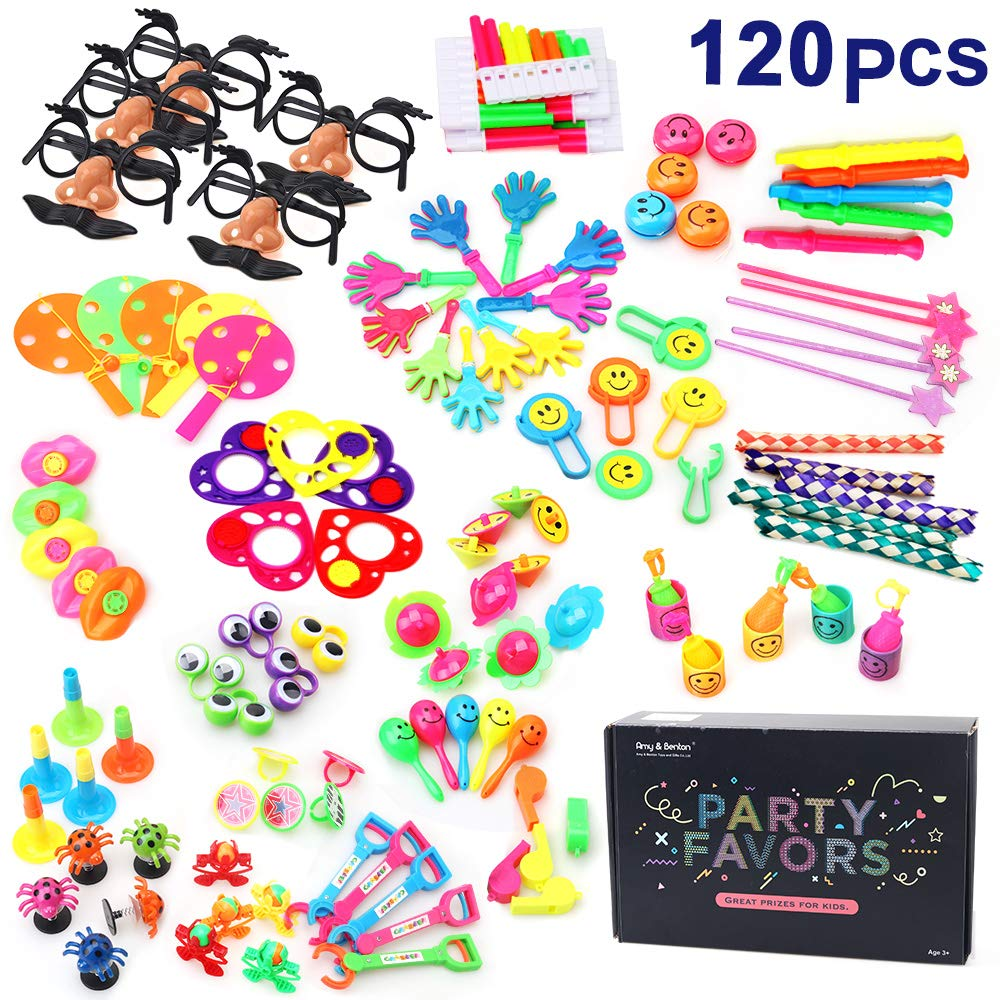 Amy & Benton 120PCS Carnival Prizes Kids Birthday Party Favors Prizes Box Toy Assortment Classroom