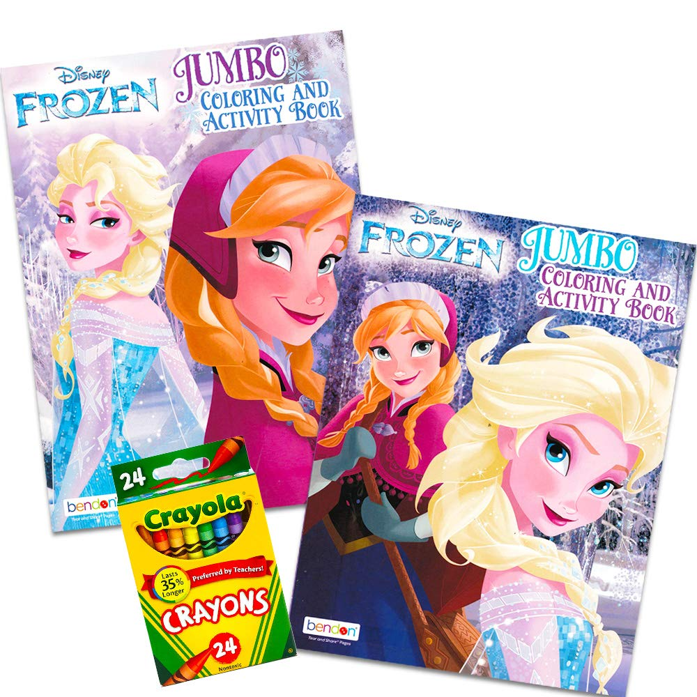 Disney Frozen Coloring Book Set With Crayons (Bundle with 2 Coloring Books)
