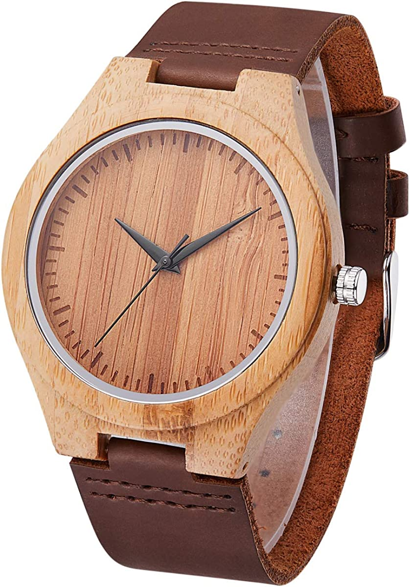 Mens Natural Wooden Watches Handmade Vintage Casual Wrist Watch Cowhide Leather Wood Watch