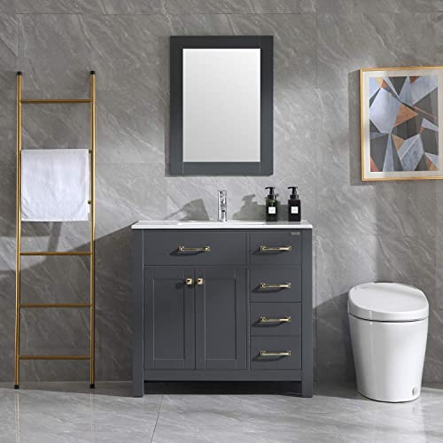 Wonline 36″ Gray Bathroom Vanity and Sink Combo Cabinet Undermount Ceramic Vessel Sink Chrome Faucet Drain Golden Handle