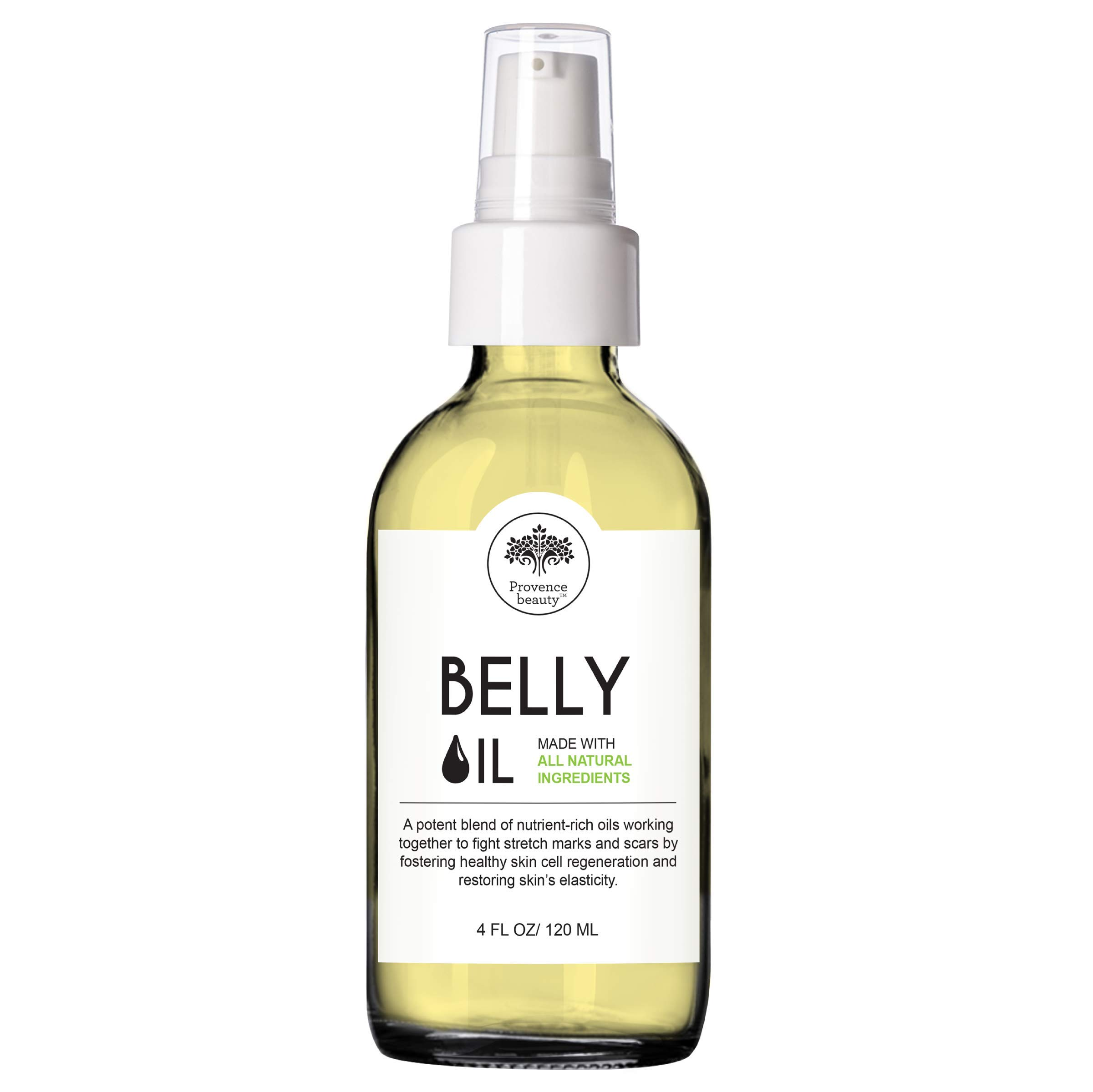 Provence Beauty | Belly Oil - Stretch Mark, Scar Prevention & Reduction Therapy, Safe for Use During Pregnancy & Postmortem - 4OZ by Provence Beauty