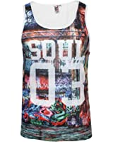 Mens New Soulstar Graffiti Print Vest Sleeveless Tank Top Light Summer Gym Shirt