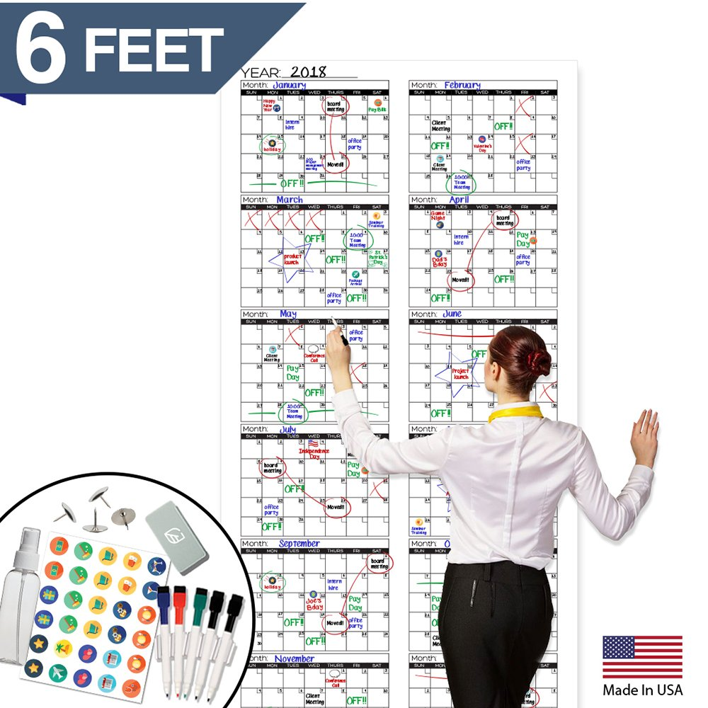 Large Dry Erase Wall Calendar - 72'' x 36'' - Blank 2018-2019 Reusable Annual Planner - Academic Fiscal Year Office Project 12 Month Poster - Laminated Giant Jumbo Oversized Erasable Undated Calander