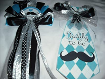 Baby shower  mommy and daddy to be mustache  corsage  set