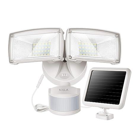 Luz Solar de Seguridad con Sensor de Movimiento 950LM, Luz Solar 5000K, Ajuste con Doble Cabezal Multiángulo, Diseño Compacto con Estilo para el ...