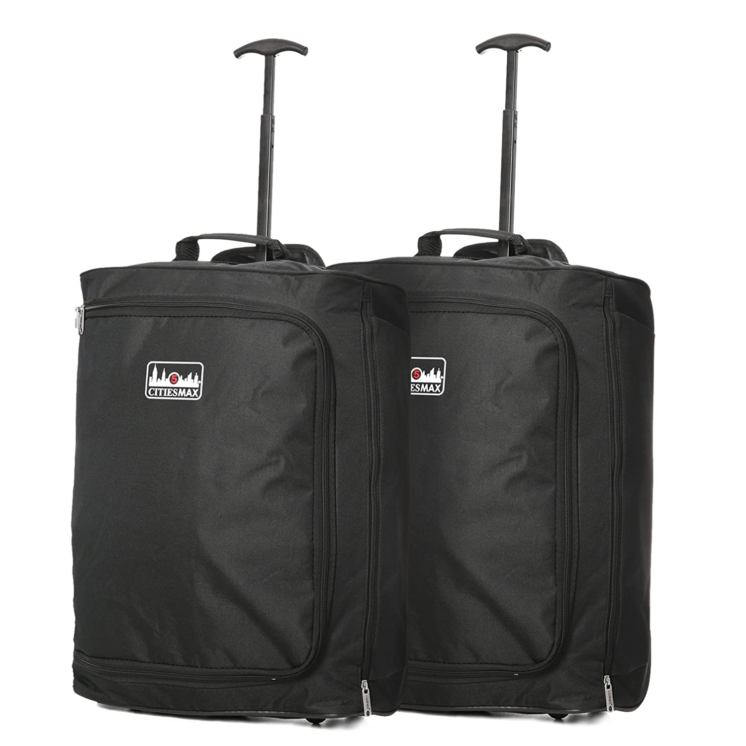 Set of 2 55x40x20cm Ryanair Maximum Cabin Hand Luggage Approved Trolley Bag, 42L Black + Rose Gold