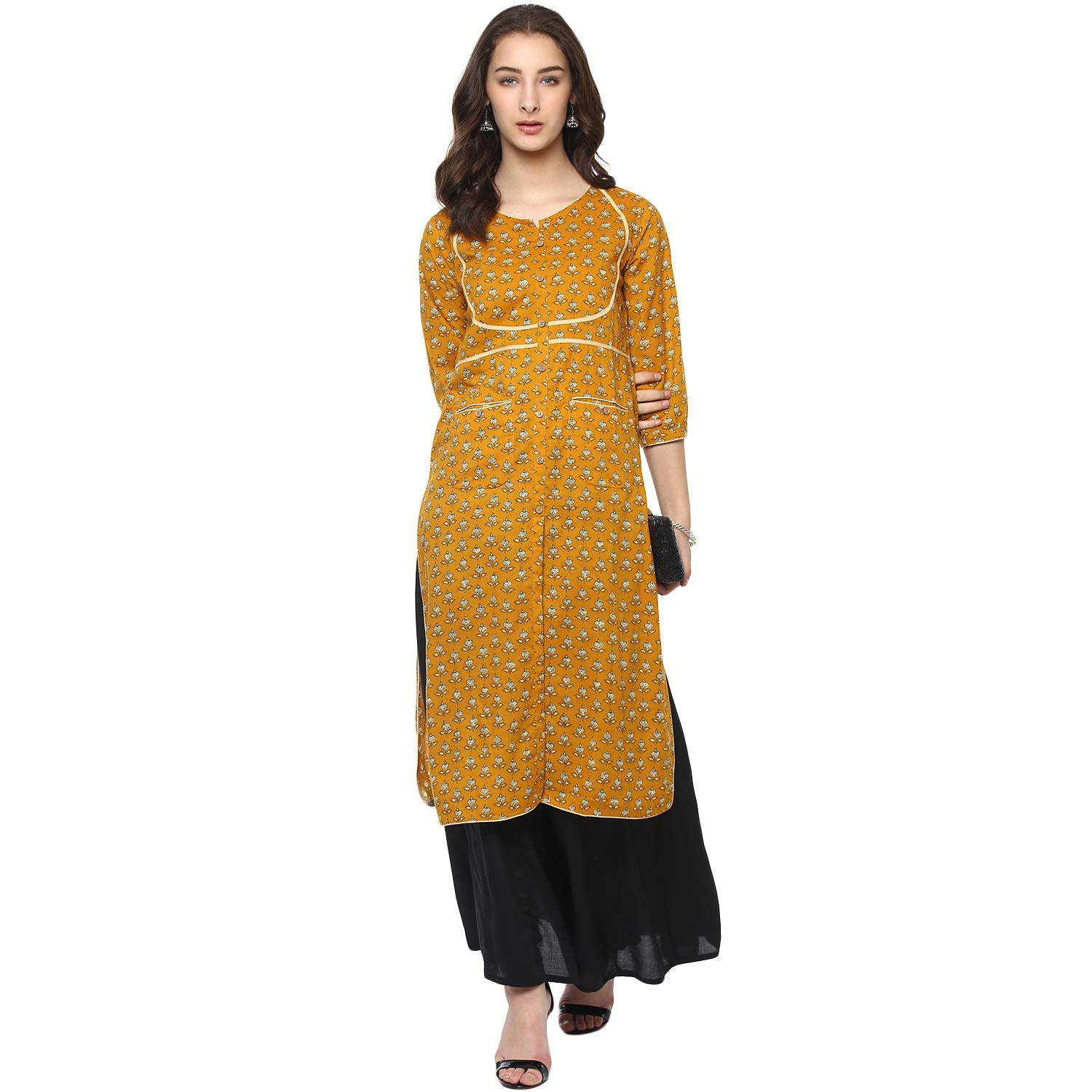 07c55d17899 Vedic Mustard Cotton Knee Length Printed Kurti for Women  Amazon.in   Clothing   Accessories