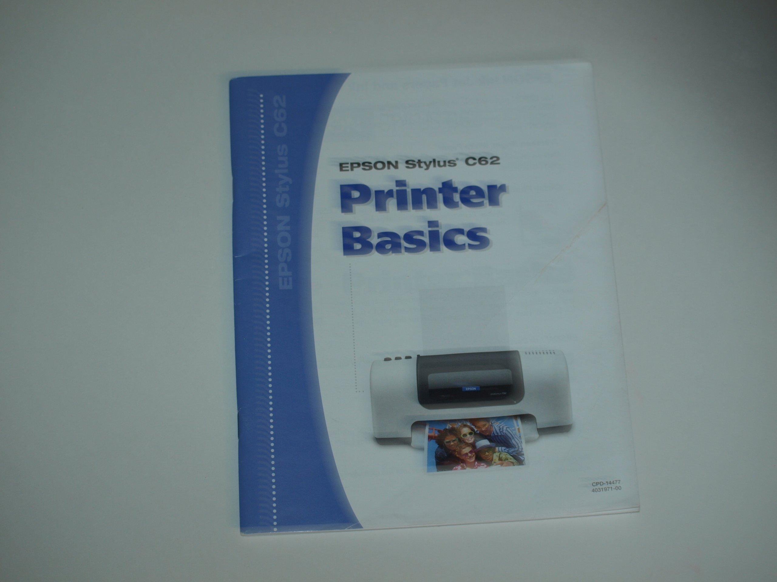 epson stylus c62 printer manual guide basic manual epson rh amazon com epson stylus c62 service manual Epson Stylus Ink Cartridges