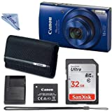 Canon PowerShot ELPH 190 Digital Camera (Blue) with 32GB Memory + CANON PSC-2070 CASE + Zone CLOTH