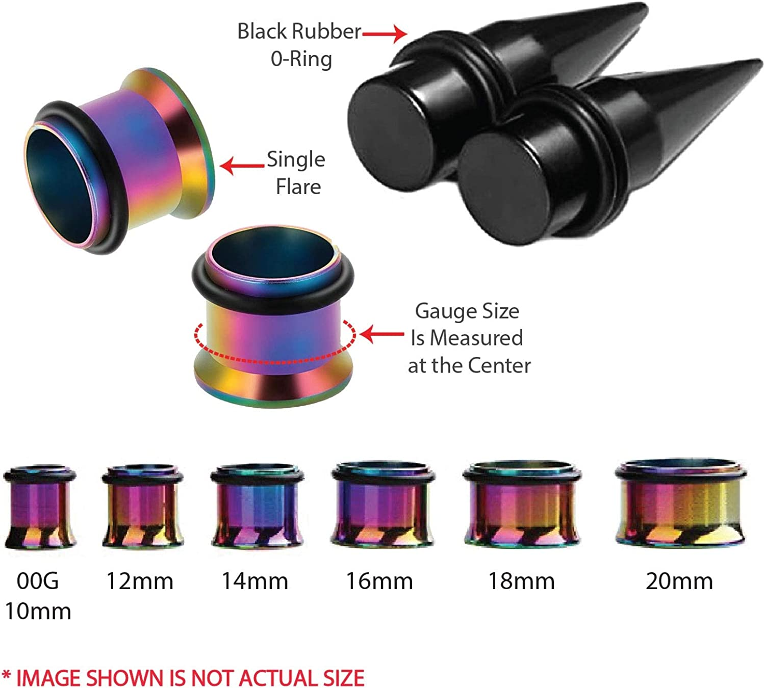 BodyJ4You 24PC Big Gauges Kit Stretching 00G-20mm Multicolor Acrylic Tapers Steel Plugs Tunnels Set