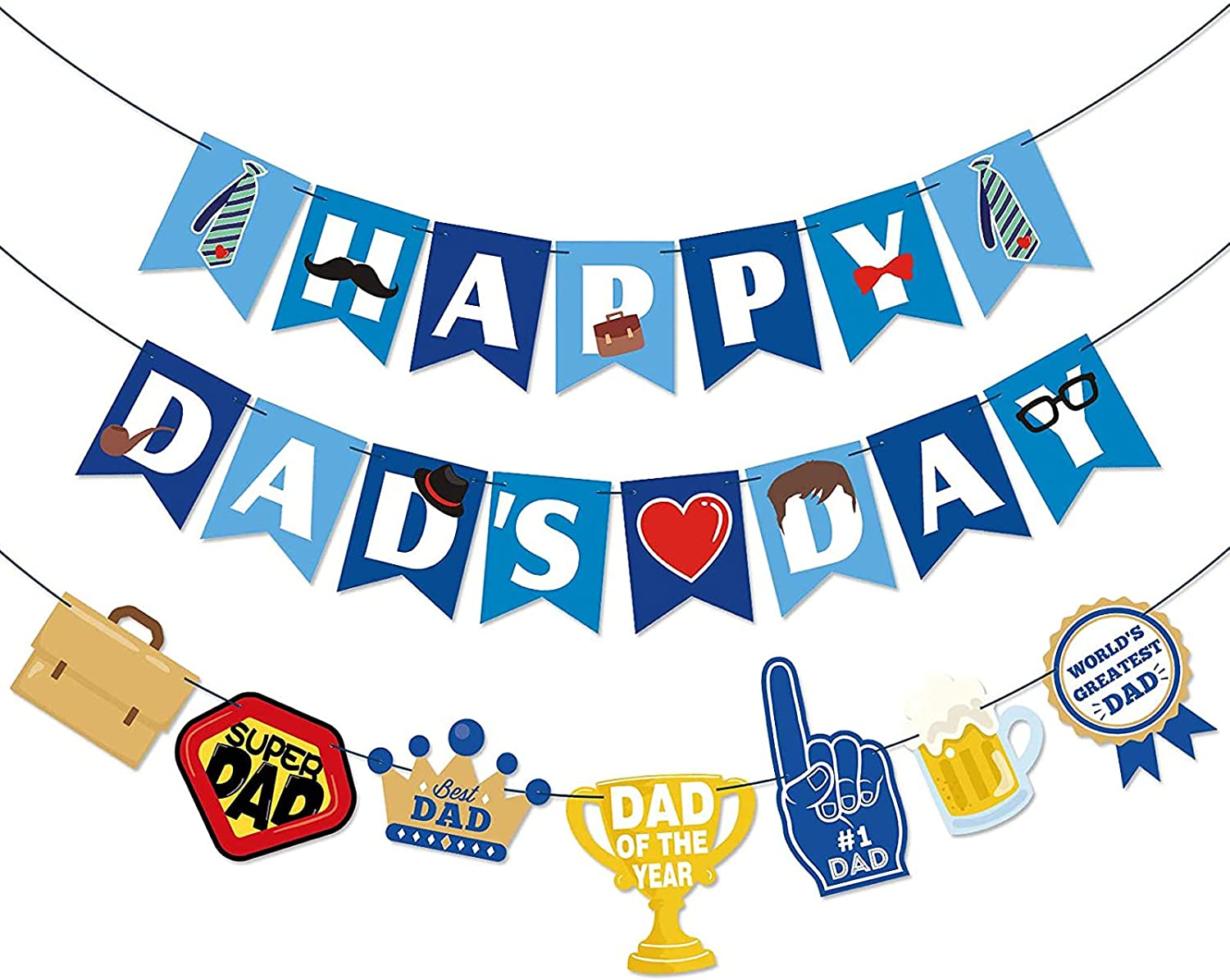 Happy Dads Day Banner | Pre-strung Fathers Day Party Decorations | Fathers Day Family Celebration Supplies Photo Prop Gift From Sons or Daughters