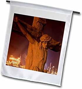 3dRose fl_90470_1 Louisiana Baton Rouge Statue of Jesus Christ - Us19 Pso0003 - Paul Souder's Garden Flag, 12 by 18-Inch