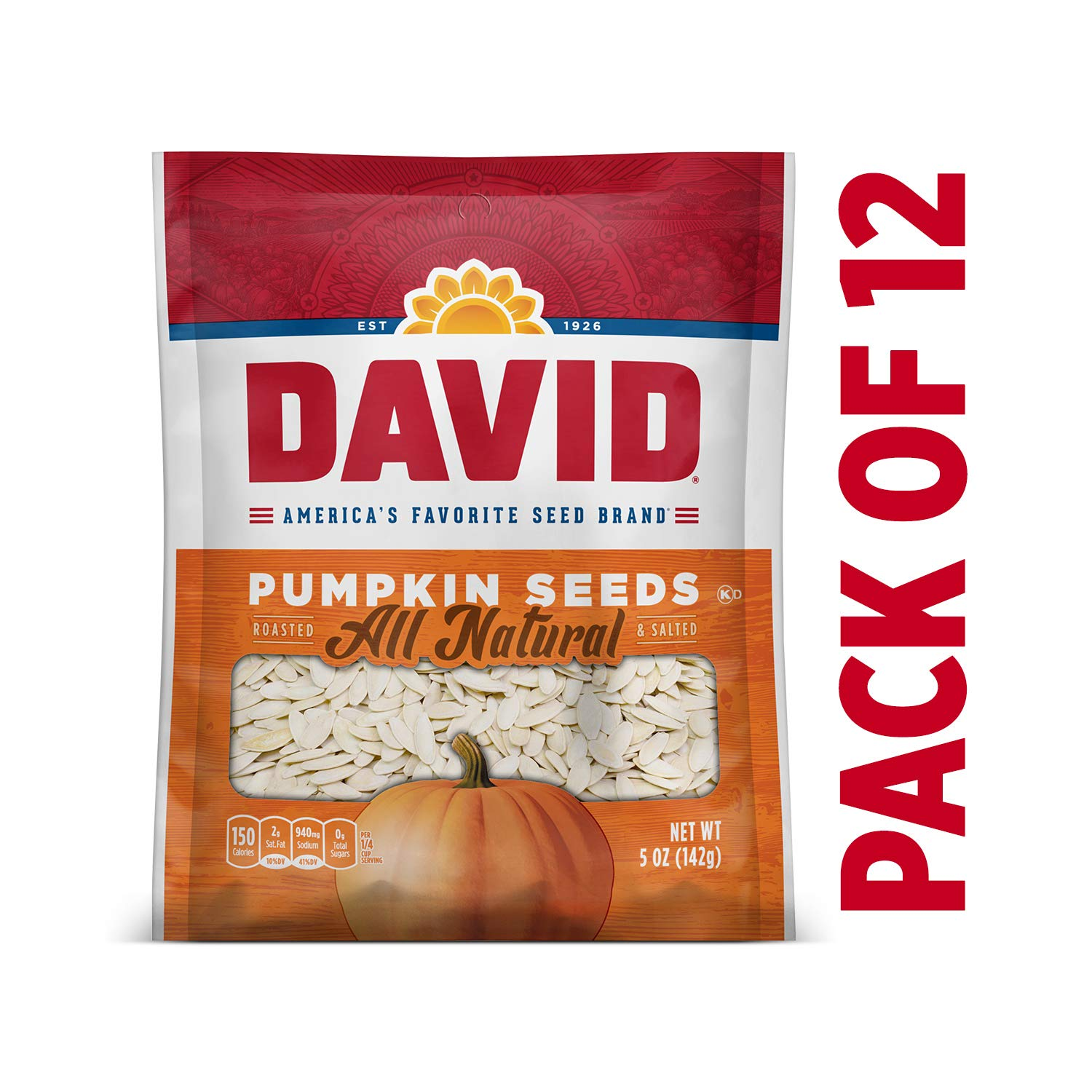 DAVID Roasted and Salted Pumpkin Seeds, 5 oz, Keto Friendly, 12 Pack by DAVID Seeds