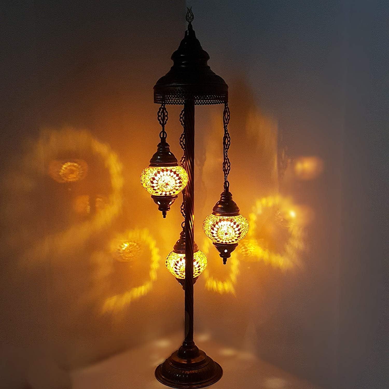 Turkish Marocain Style Tiffany Mosaïque de Verre Lampadaire Veilleuse - G13 X 3 Ampoule Lampadaire