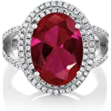 Gem Stone King 925 Sterling Silver Red Created Ruby Women's Cocktail Engagement Ring (7.19 Carat, Oval 14X10MM, Available in