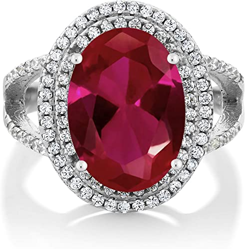 White gold finish red ruby created diamond heart ring size P free postage gift