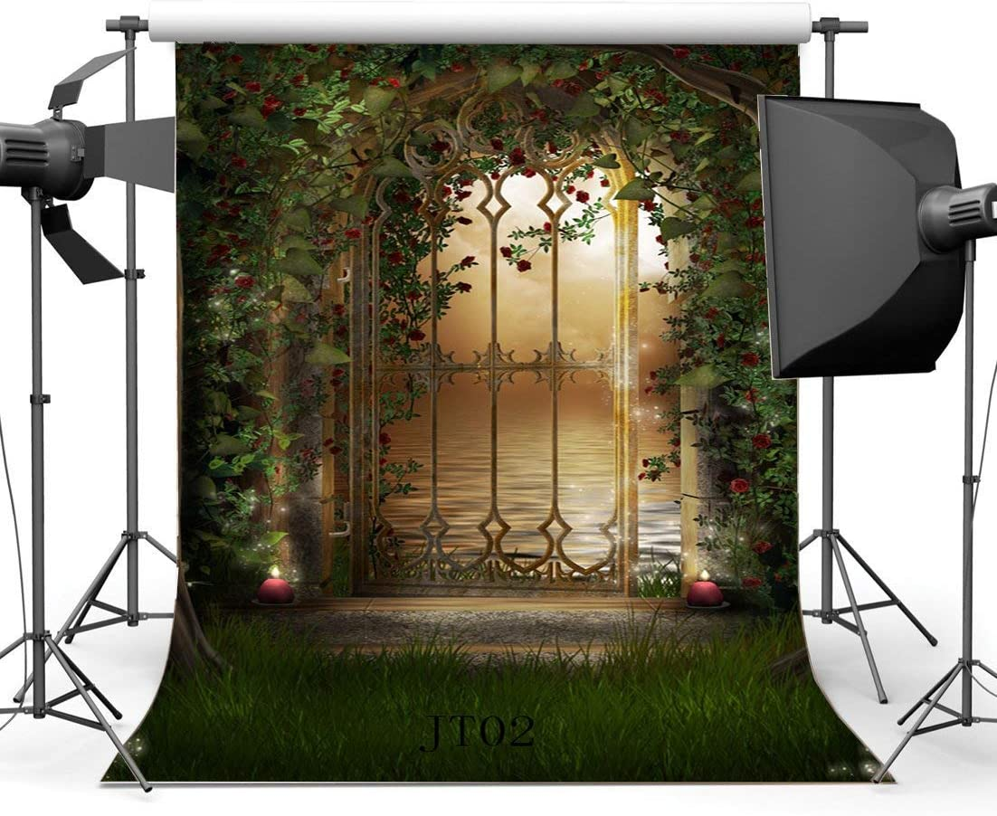 SZZWY 5X7FT//150X210cm Thin Vinyl Photography Backdrops Fairy Tale Mysterious Garden Flowers Vine Arch Grass Field Scene Newborn Baby Toddlers Lover Portraits Background Photo Studio Props JT02