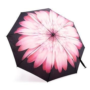 lalkio personalizado único rosa flores paraguas automático paraguas de viaje plegable resistente al viento UV Protección