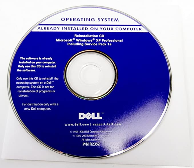 Dell Microsoft Windows XP Professional Includes Service Pack 1a P/N: R2352  Operating System Driver PC Computer Software Program Recovery Replacement