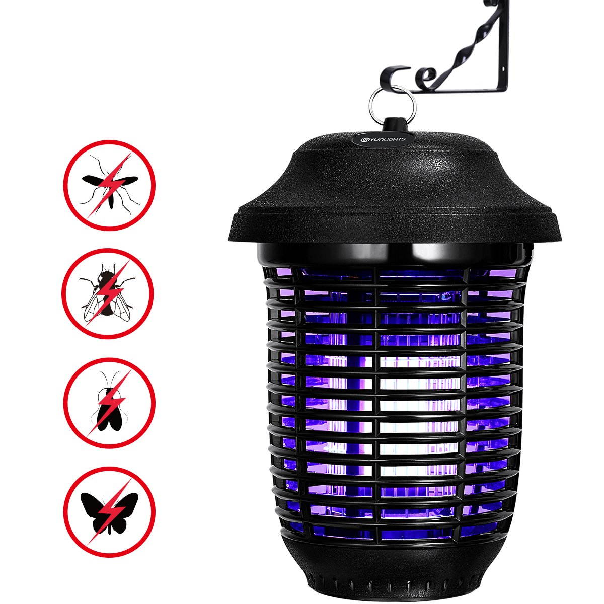YUNLIGHTS Electric Bug Zapper, 40W Outdoor Mosquito Killer Lantern with Free Hanger, IPX4 Insect Fly Zapper Light for Patio, Gardens, Yards, Pool Area