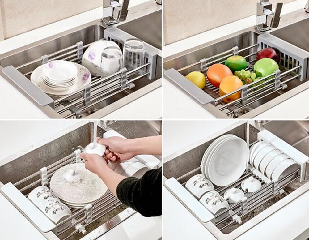 UNILLAP Dish Drying Rack Over Sink, Stainless Steel Dish Drainer with Adjustable Arms Holder Functional Kitchen Sink Organizer for Vegetable and Fruit