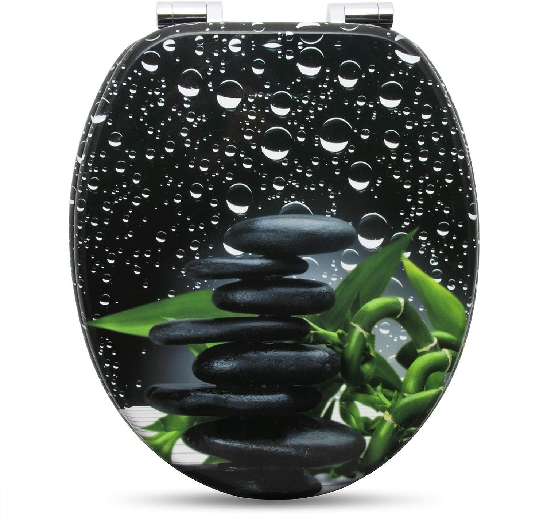 Tapa y Asiento para Inodoro con Cierre Suave F/ácil Instalaci/ón MDF WS2655 WOLTU WC Asiento para Inodoro