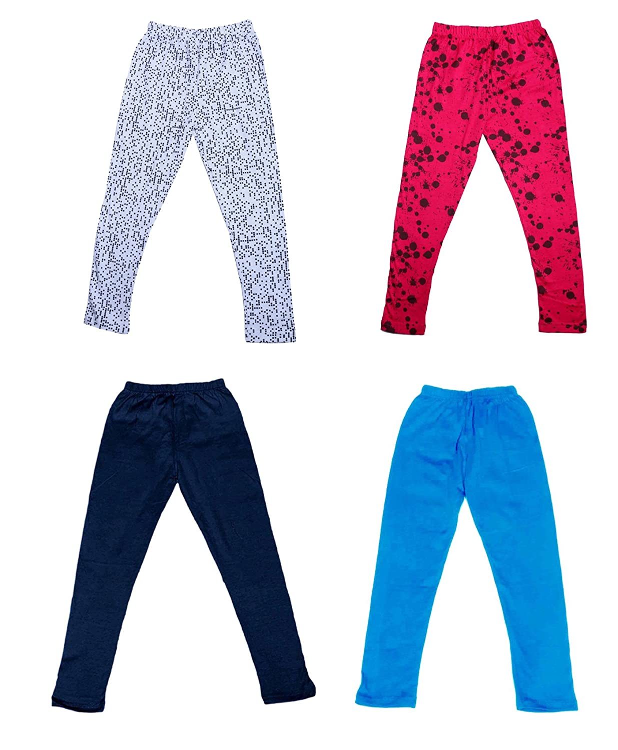 /_Multicolor/_Size-5-6 Years/_71410112021-IW-P4-28 Pack Of 4 and 2 Cotton Printed Legging Pants Indistar Girls 2 Cotton Solid Legging Pants