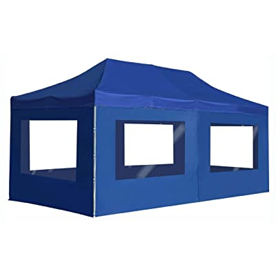 "Canopy, fessional Folding Party Tent with Walls Aluminium 236.2""x118.1"" Blue: Kitchen & Dining"
