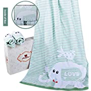 Elephant Bath Towel Set of 3 - Bath Towel x1 and Washcloths x2 , 100-Percent Cotton Organic and Antibacterial, includes a Elephant Bath Toy Bonus