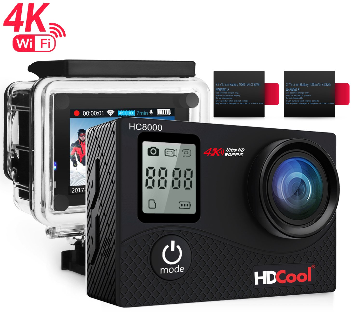 HDCOOL 16MP cámara de acción 170 grados, Objetivo gran angular para cámara deportiva impermeable, pantalla LCD 5 cm de pantalla y pantalla frontal de 1,7 cm incluye 2 baterías recargables 1050mah