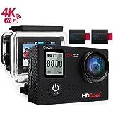 hdcool hc80004K Action Camera 16MP FHD 1080con WIFI impermeabile macchina fotografica di sport 2.0pollici LCD Display, 170° Ultra Grandangolare, 2Batterie ricaricabili con 1050mAh