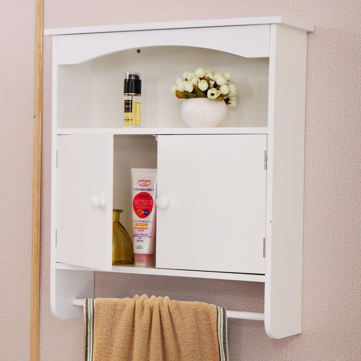 LAZYMOON Wall Mounted Bathroom Storage Cabinet Towel Shelf Toilet Medicine Organizer White