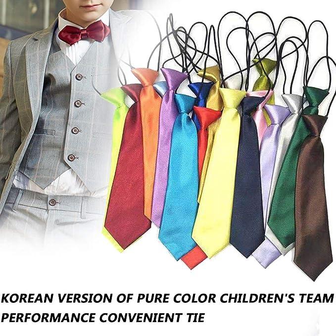 DF-ES Niños escolares Niños Niños Bebé Boda Color sólido Corbata ...