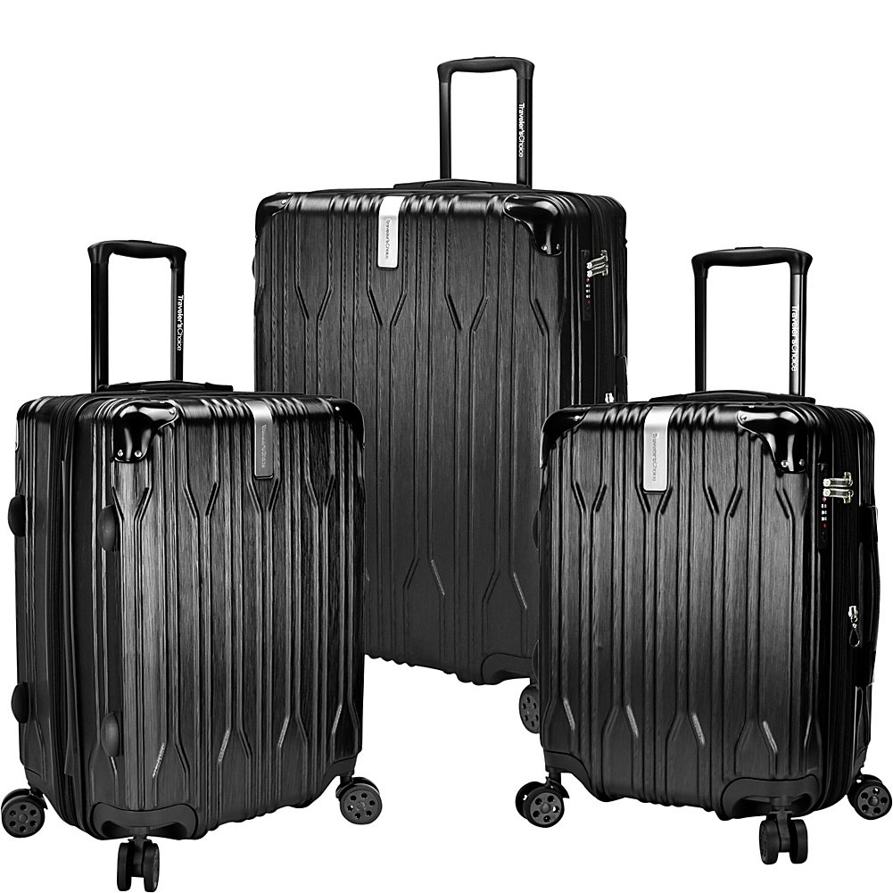 edc6a7ac6e28 Traveler's Choice Bell Weather 3 Piece Expandable Spinner Luggage Set  (Black)