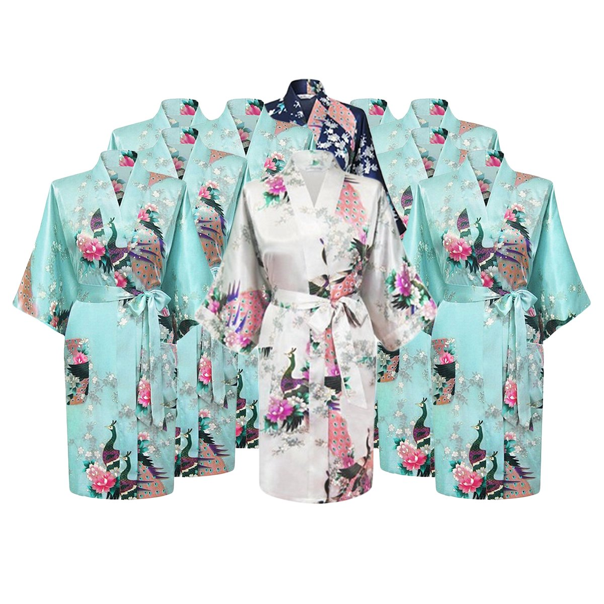 Gifts Are Blue Floral Bridal Party Bride & Bridesmaid Robe Sets, Sizes 2 To 20 (Set Of 10)