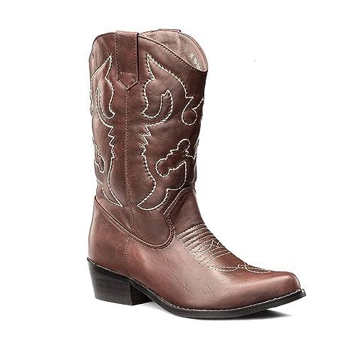 SheSole Damen Westernstiefel Blockabsatz Cowboy Stiefel