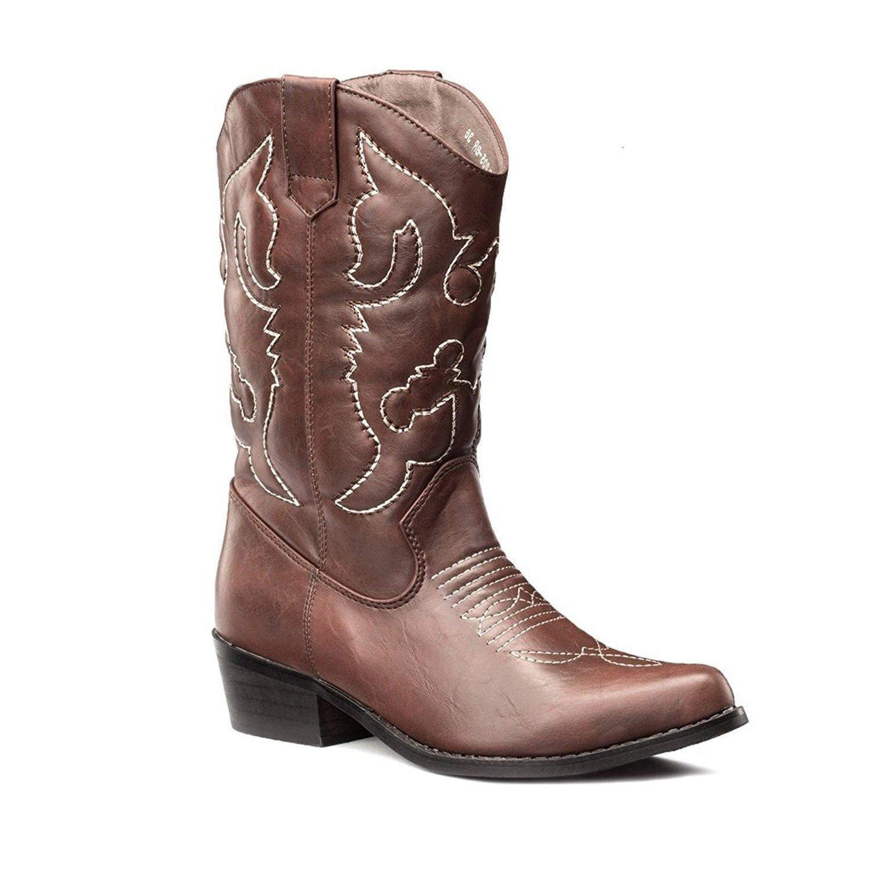 Lara's Womens Wedding Western Cowboy Boots Mid Calf Brown US 7
