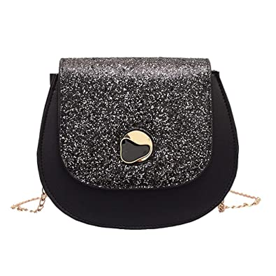 b3a6e8cbd7ff31 LiLi Meng Women's Sequined Saddle Bag Fashion Shoulder Bag Wild Diagonal Bag  Chain Hasp Bag: Handbags: Amazon.com