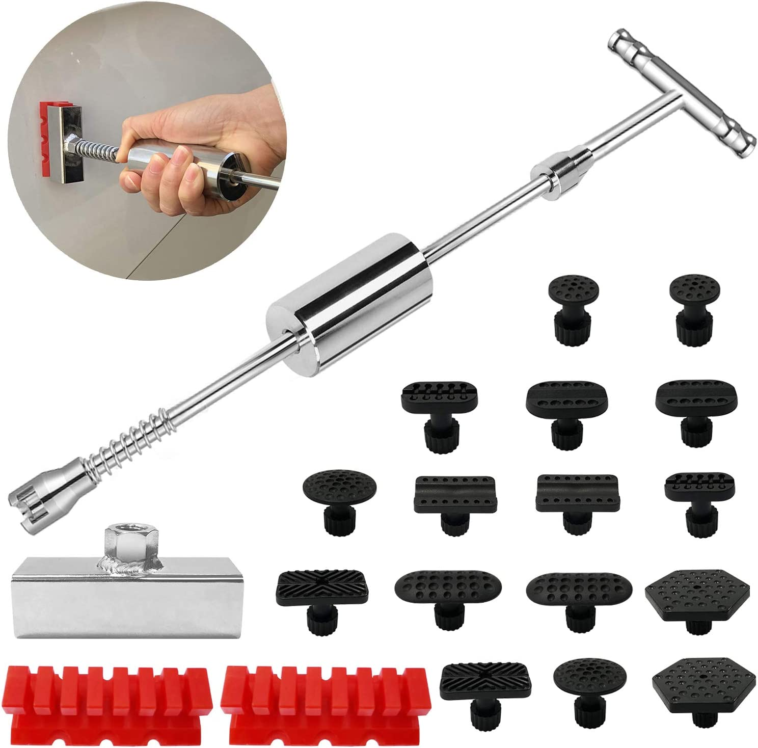 Manelord Dent Puller - Dent Remover with T bar Dent Puller and Upgraded Dent Puller Tabs for Car Dent Repair and Metal Surface Dent Removal