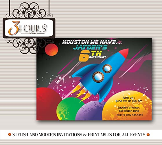 Amazon Outer Space Rocket Ship birthday party invitations – Space Party Invitations