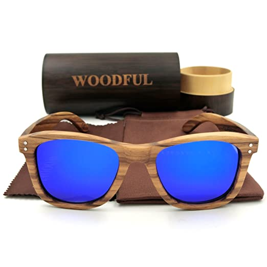6c3886f47f64 Amazon.com  Wooden Sunglasses with Round Bamboo Glasses Case (blue ...