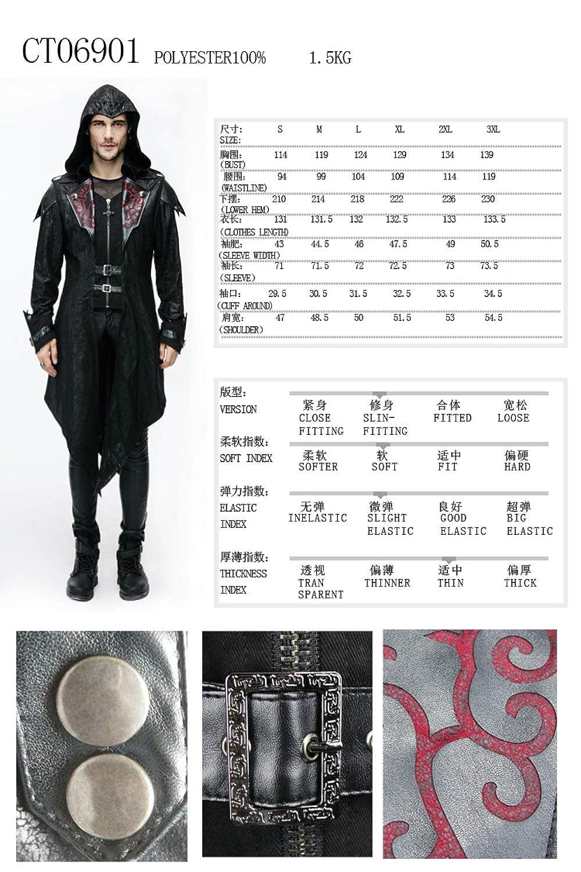 Devil Fashion Mens Gothic Hooded Jacket Coat Steampunk Fashion Men Stage Performance Costume