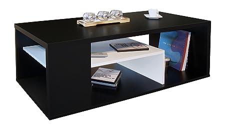 Tavolino ALICIA Nero//Bianco 123 x 51.5 x 43 cm Multicolore Berlioz Creations