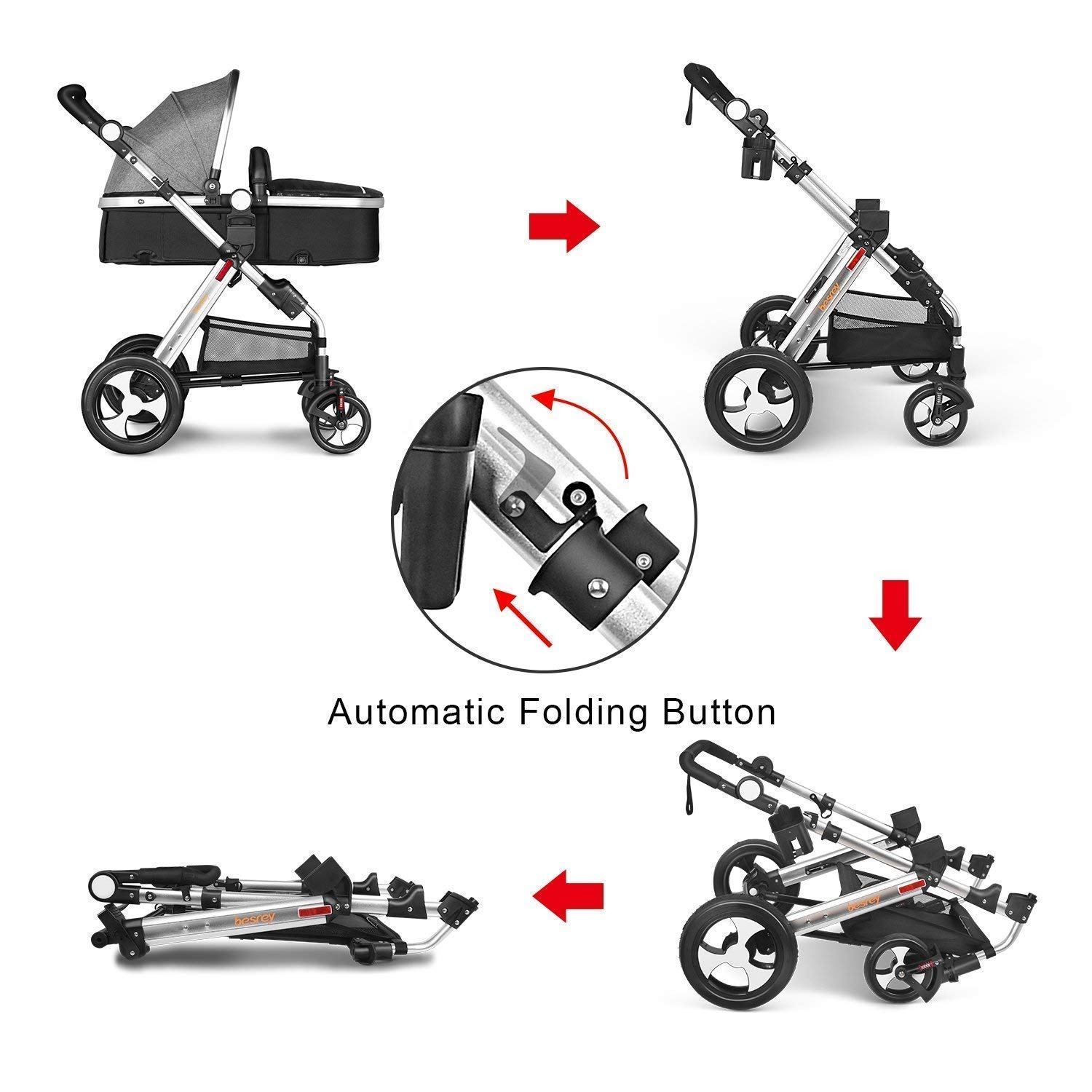 Grey Besrey Pushchair 3 in 1 Baby Stroller Travel System Foldable Infant Buggy with Car seat