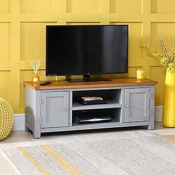 Manor - Mueble de TV con Pantalla panorámica Grande Pintada en Color Gris con Parte Superior de Roble (hasta 60