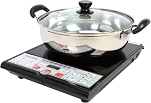 Tayama Induction Cooker with Shabu Pot, Black, 10 inch, SM15-16A3R
