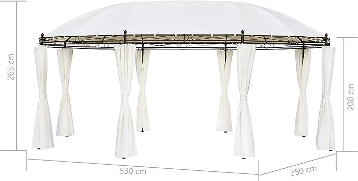 vidaXL Cenador de Jardín Ovalado con Cortinas Acero y Tela Blanco ...