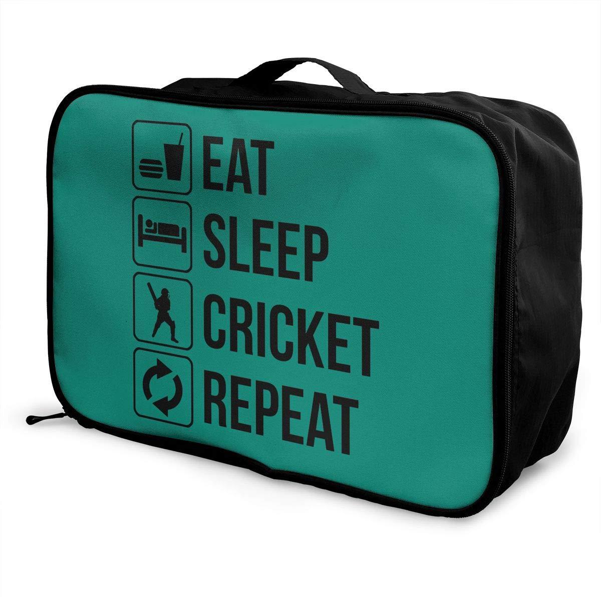 Travel Luggage Duffle Bag Lightweight Portable Handbag Eat Sleep Cricket Large Capacity Waterproof Foldable Storage Tote