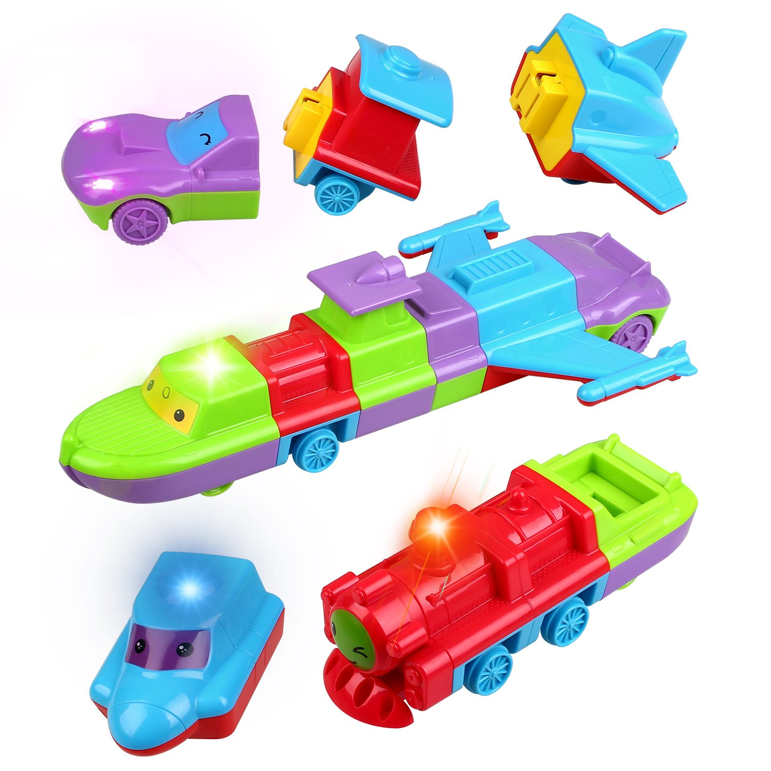 Toddler Musical Cars Toys Set Assembly Car Speedboat Train Plane Kits with Light and Music Best Gifts for Toddlers Kids by Peradix