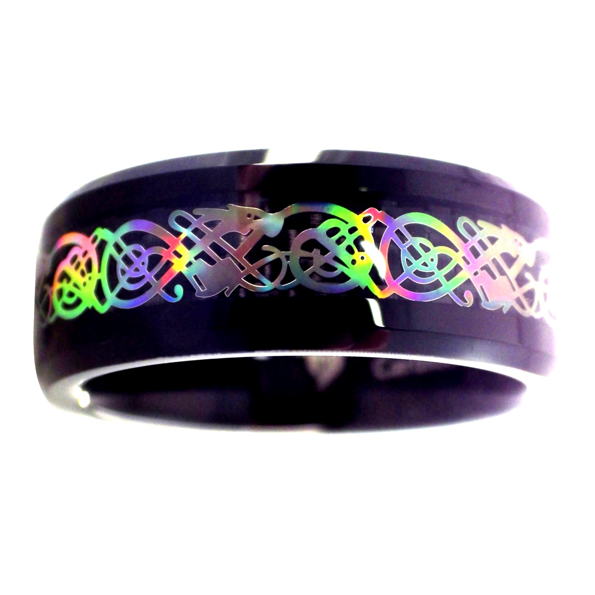 Fantasy Forge Jewelry Rainbow Hologram Style Celtic Dragon Black Tungsten Ring Size 6.5